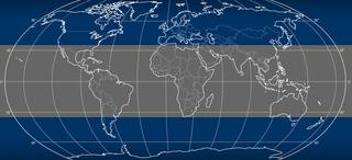 Map of Earth with latitudes and longitudes with band of grey in center marking reentry area