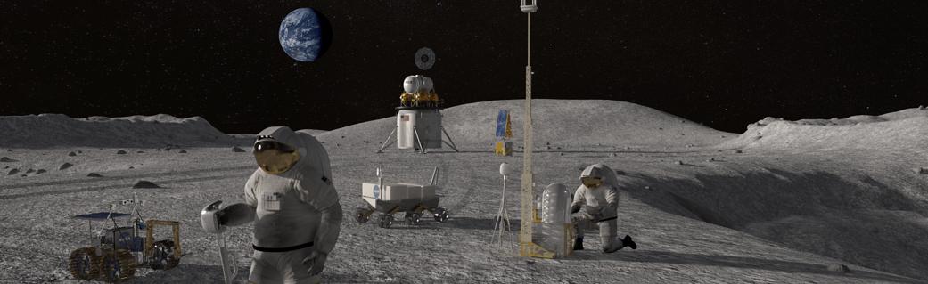 Astronauts on lunar surface