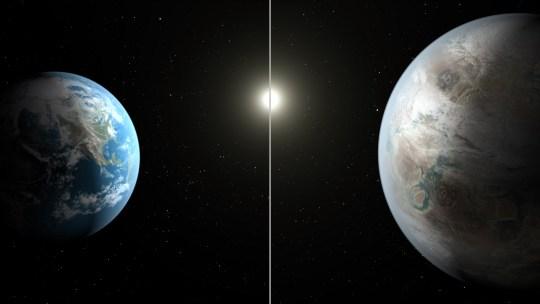 Jorden jämfört med Kepler 452b