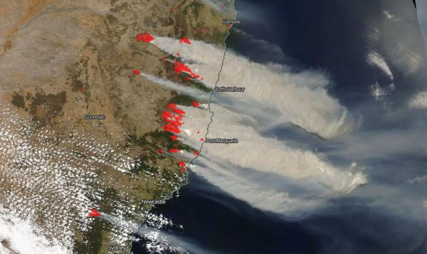 Bushfires on East Coast of Australia Out of Control | NASA