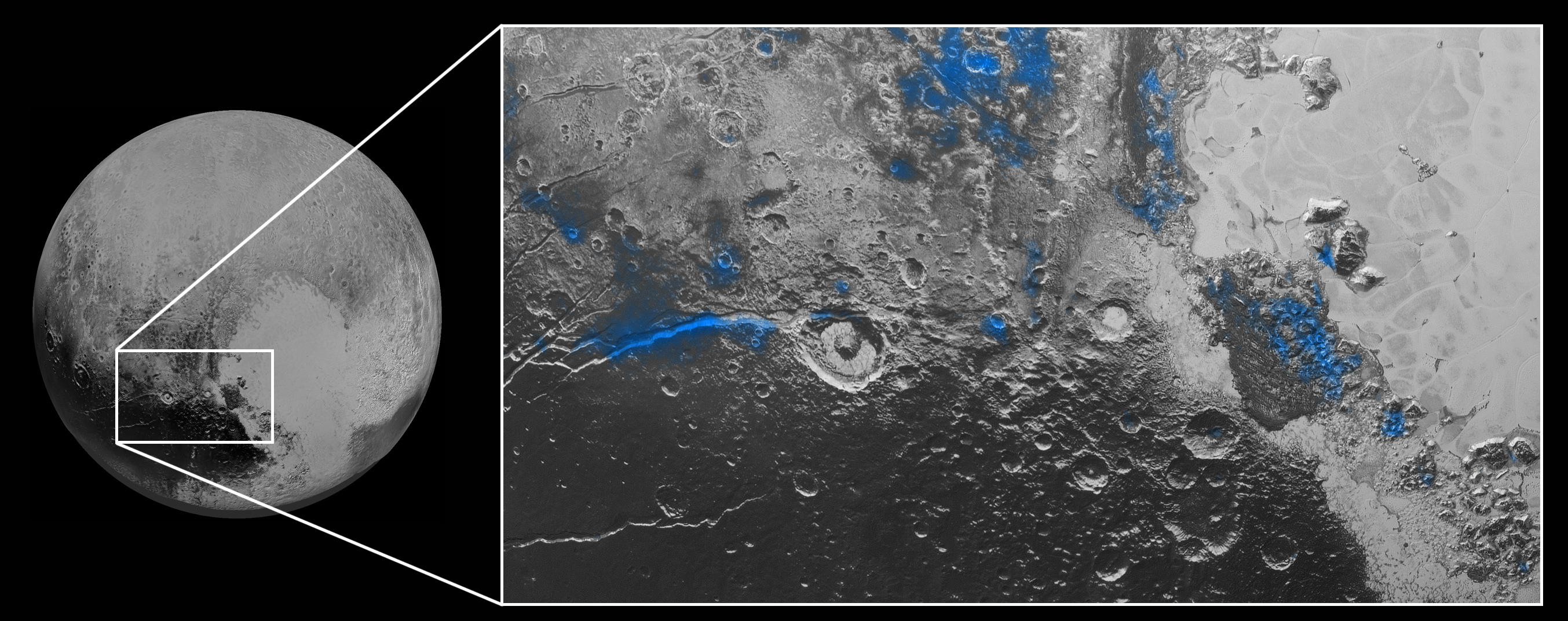 Water Ice on Pluto: Regions with exposed water ice are highlighted in blue in this composite image from New Horizons' Ralph instrument, combining visible imagery from the Multispectral Visible Imaging Camera (MVIC) with infrared spectroscopy from the Linear Etalon Imaging Spectral Array (LEISA). The strongest signatures of water ice occur along Virgil Fossa, just west of Elliot crater on the left side of the inset image, and also in Viking Terra near the top of the frame. A major outcrop also occurs in Baré Montes towards the right of the image, along with numerous much smaller outcrops, mostly associated with impact craters and valleys between mountains. The scene is approximately 280 miles (450 kilometers) across. Note that all surface feature names are informal.