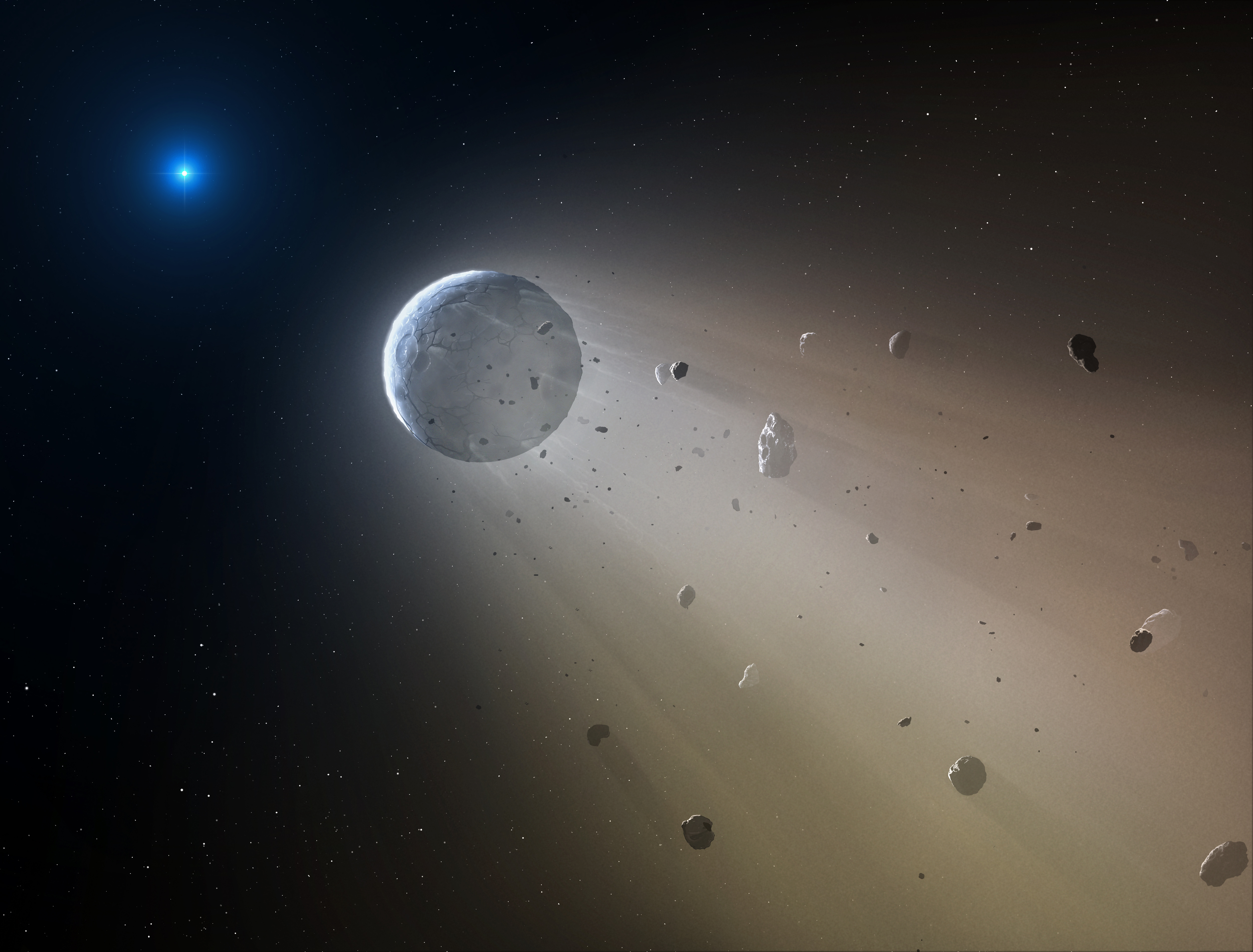 In this artist's conception, a tiny rocky object vaporizes as it orbits a white dwarf star. Astronomers have detected the first planetary object transiting a white dwarf using data from the K2 mission. Slowly the object will disintegrate, leaving a dusting of metals on the surface of the star.
