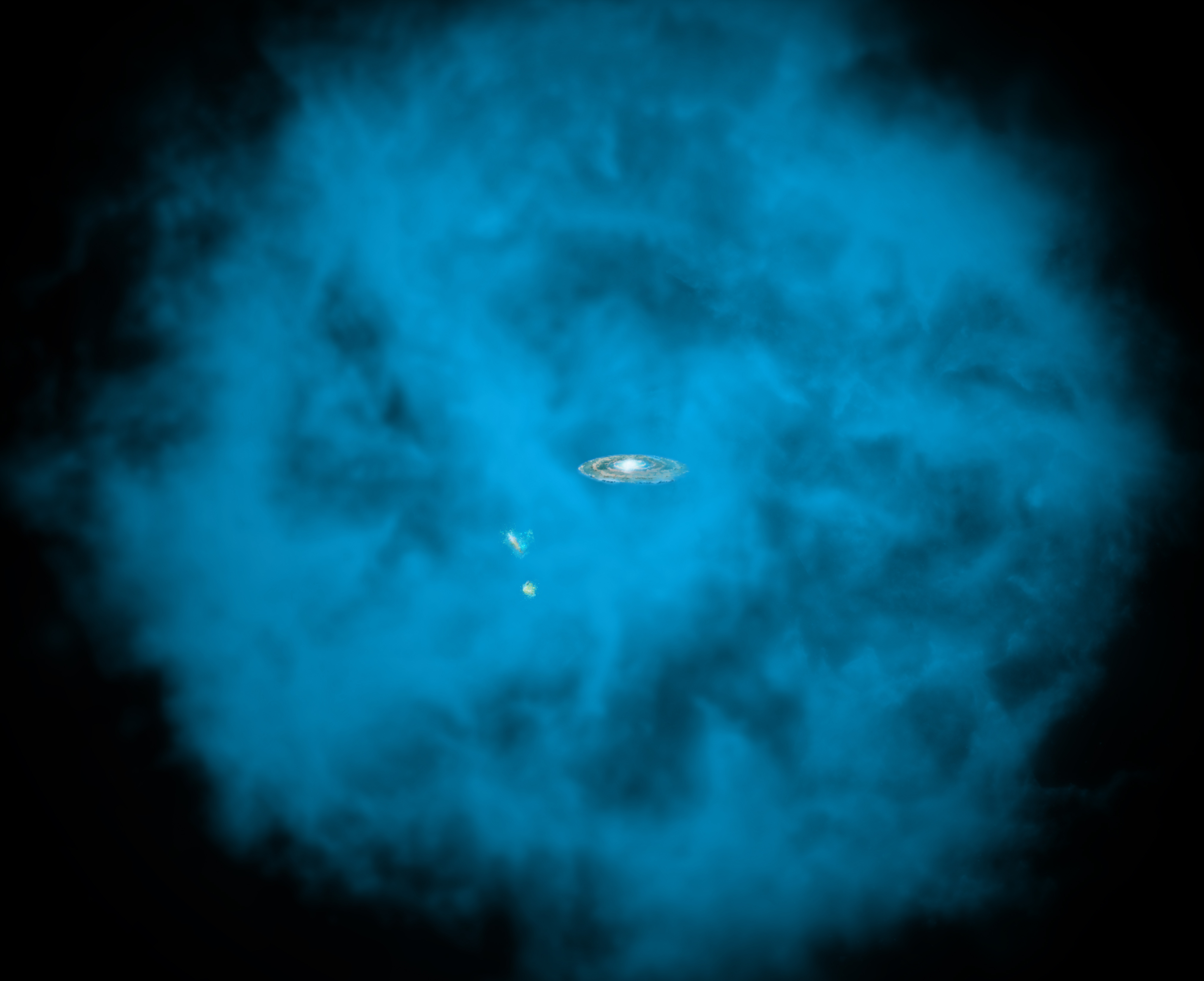 Our Milky Way galaxy and its small companions are surrounded by a giant halo of million-degree gas (seen in blue in this artists' rendition) that is only visible to X-ray telescopes in space. University of Michigan astronomers discovered that this massive hot halo spins in the same direction as the Milky Way disk and at a comparable speed.
