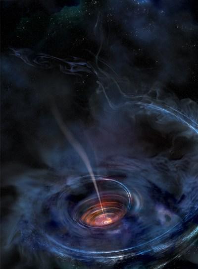 En esta ilustración se ha formado un disco de acreción alrededor de un agujero negro supermasivo, a consecuencia de la alteración catastrófica por fuerzas de marea de una estrella que deambulaba demasiado cerca. Los escombros estelares han caído hacia el agujero negro, conformando un grueso y caótico disco de gas caliente. Los destellos luminosos de rayos X cerca del centro del disco producen ecos de luz que permiten a los astrónomos cartografiar la estructura del flujo, comparable en algunos aspectos a la de un embudo. (Imagen: NASA/Swift/Aurore Simonnet, Sonoma State University)