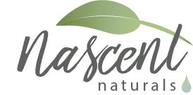 Nascent Naturals Logo. Says Nascent Naturals in grey with green logo above