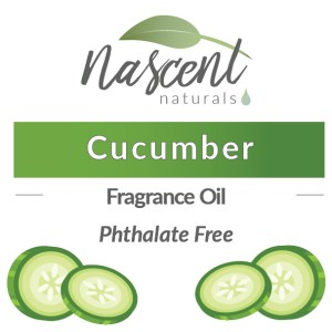 """Text and cartoon images of Cucumber Slices in front of a white background. The text says, """"Cucumber Fragrance Oil Phthalate Free"""". Up top is the Nascent Naturals logo."""