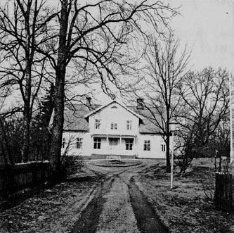 infarten till prästgården med staket på bägge sidor och större träd framme vid gårdsplanen.