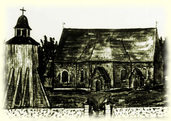 Näsbults kyrka efter en målning år 1849 av Johannes Magnusson. Foto ATA
