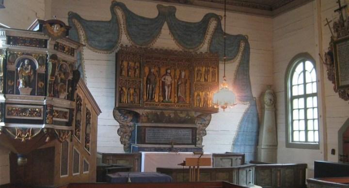 Interiör av Näshults kyrka, byggd 1732