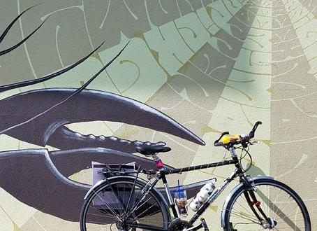 KJ's bike outside a mural on Music Row in Nashville, TN