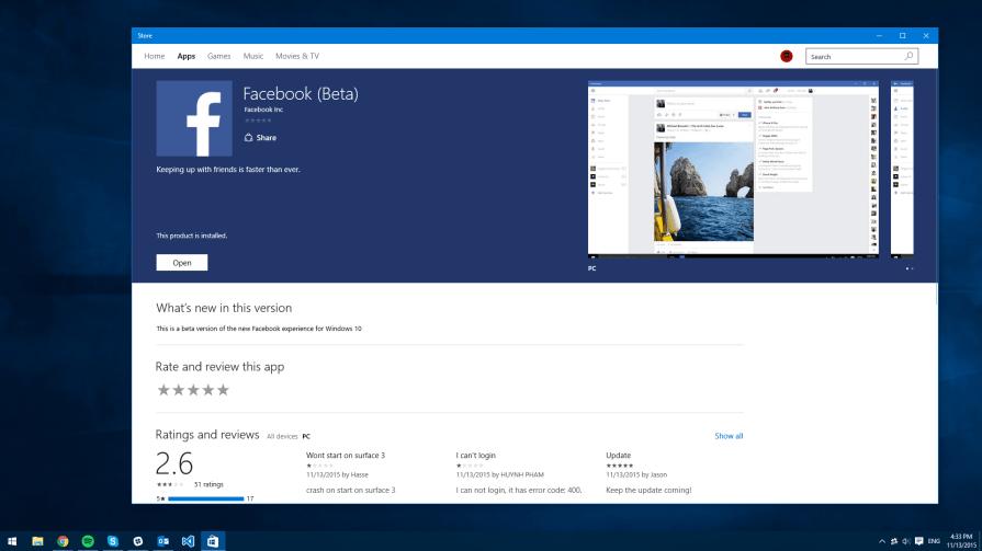 Facebook Beta for Windows 10