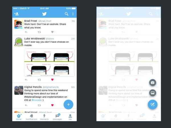 twitter app material design