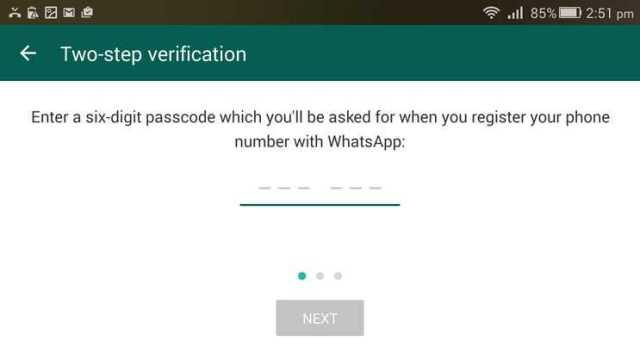 WhatsApp Six digit passcode
