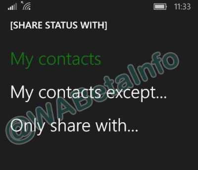 WhatsApp Privacy Options