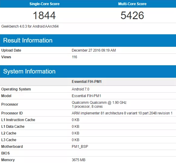 Snapdragon 835 with Android 7.0 Nougat benchmark