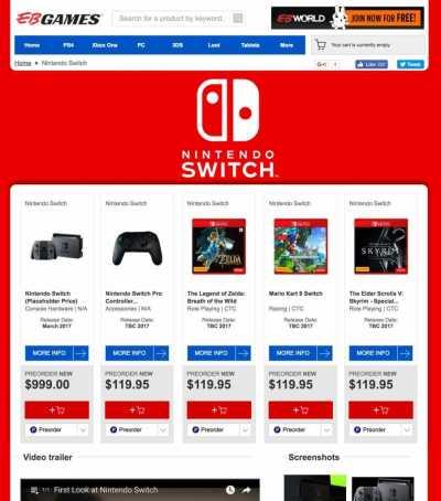 Nintendo Switch Listings on EB