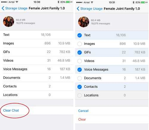 WhatsApp for iOS Storage Space Better