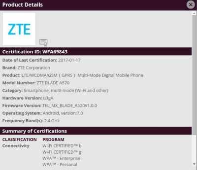 ZTE Blade A520 WIFI Certification