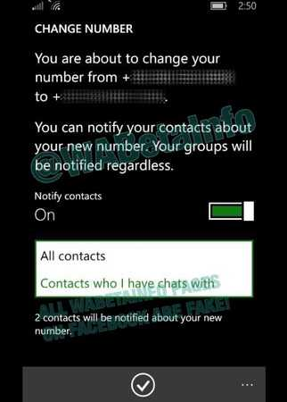 WhatsApp Notifies to Change Number