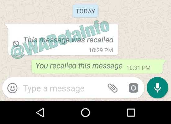 Whatsapp for Android Message Recall Icon