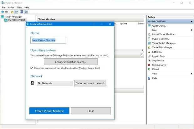 Hyper V in new Windows 10