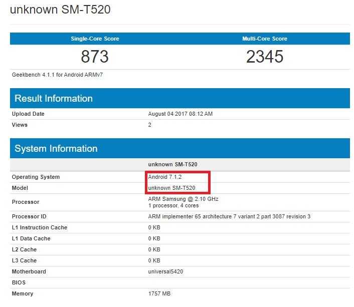 Samsung Galaxy Tab Pro 10.1 Android Nougat