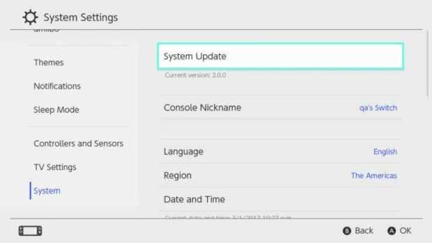 Nintendo Switch Update system