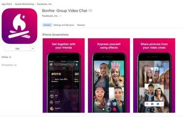 Facebook Bonfire, a Group Video Chat App