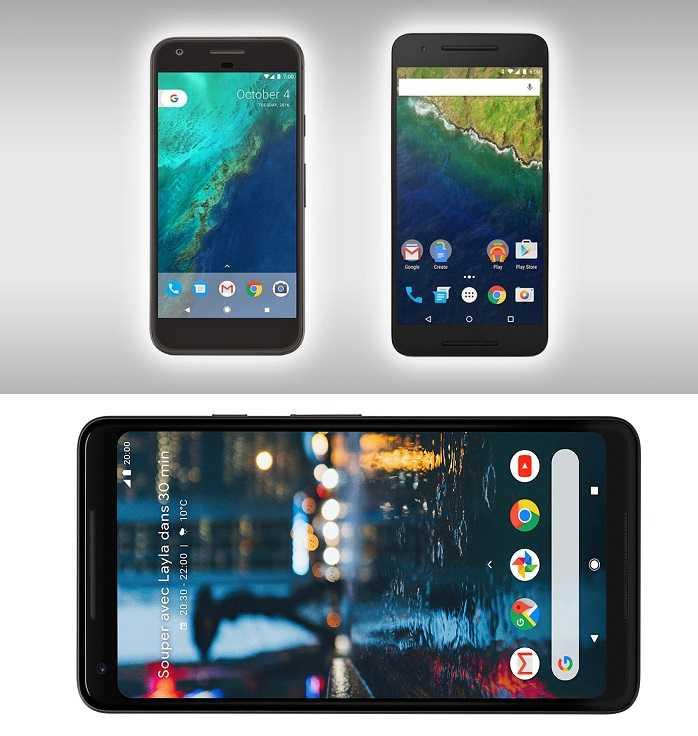 Google Pixel 2 XL vs Google Pixel XL vs Google Nexus 6P
