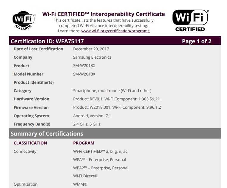 a936c8b09680d Samsung W2018 flip phone cleared by Wi-Fi Alliance ahead of a ...