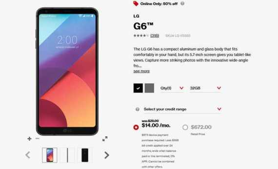 Verizon Announces 50% Off on LG G6