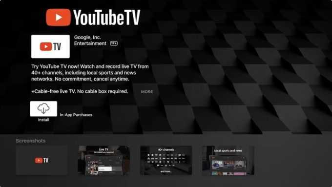 Youtube TV App Lands on Apple TV Before Super Bowl