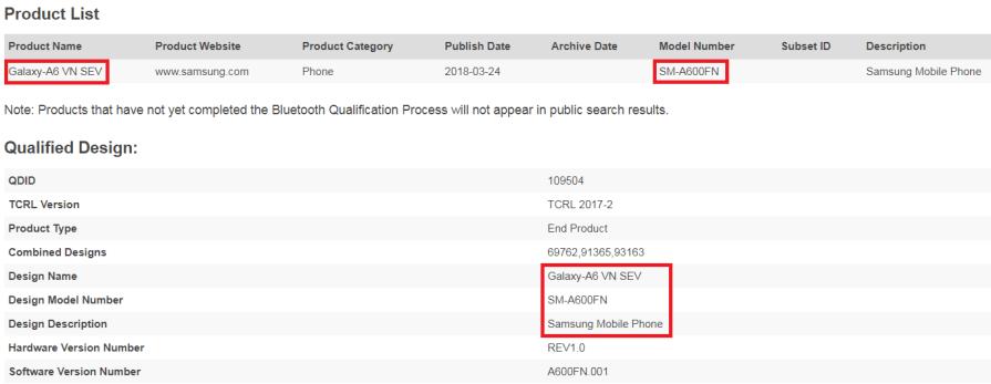Galaxy A6 Bluetooth Certified