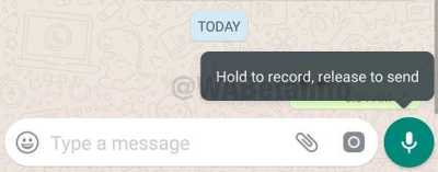 Whatsapp ios tooltip