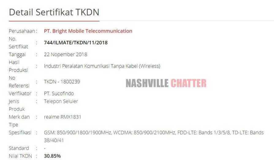 RMX1831 TKDN