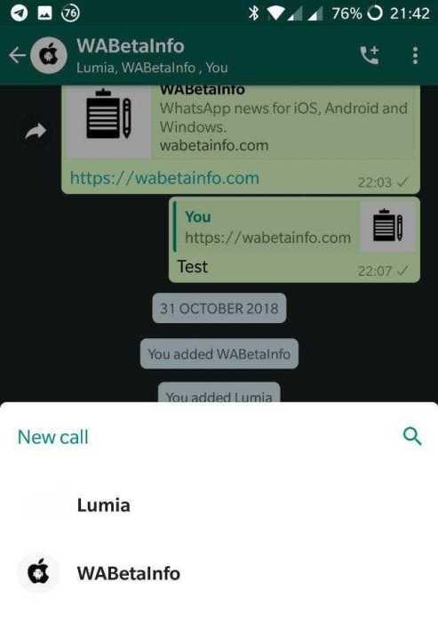 WhatsApp Group Call Shortcut