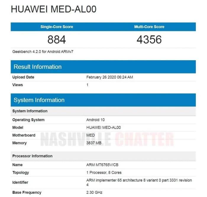 Huawei MED-AL00 specs