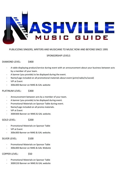 NMG Sponsorship Price Sheet