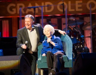 Jean Shepard, with Bill Anderson, celebrating 60 years as an Opry member in 2015. Photo: Chris Hollo