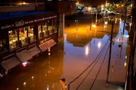 Businesses in downtown Nashville, Tenn., are surrounded by floodwater Monday, May 3, 2010. Heavy weekend rain caused the Cumberland River, which winds through Nashville, to over flow its banks flooding part of downtown and other areas around the city.