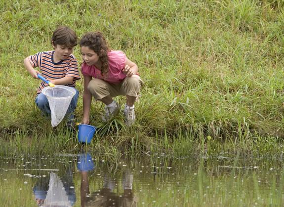 children-on-river