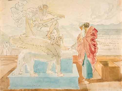 Александр Андреевич Иванов.Моисей перед Богом, читающим ему заповеди на скрижалях. Бумага, акварель, итальянский карандаш