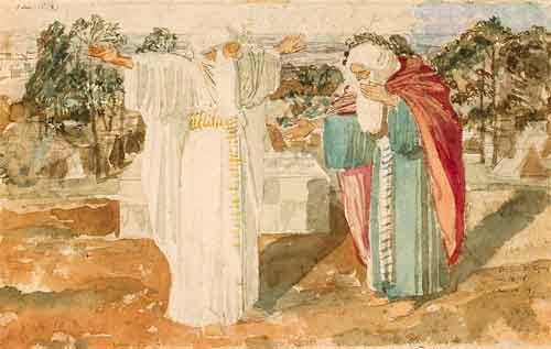 Александр Андреевич Иванов.Авраам просит у Бога знамения. Бумага, акварель, итальянский карандаш