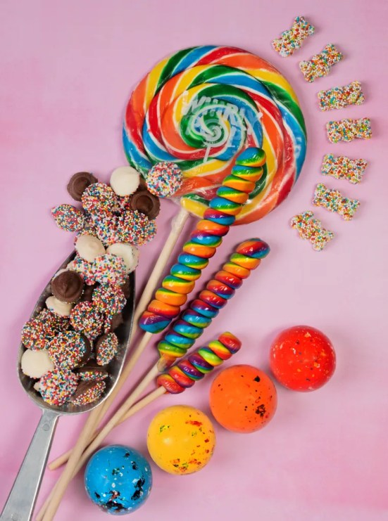Whirly pop, Jawbreakers, twist pops, unicorn pop, nonpareil , gummy bears, Pride Month, Pride Month Candy, National Candy Month