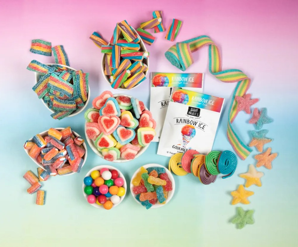 Sour belts, Dorval Sour Power Belts, gummy hearts, gummy starfish, Sour Patch Kids, Pride Month candy, National Candy month, licorice, rainbow candy
