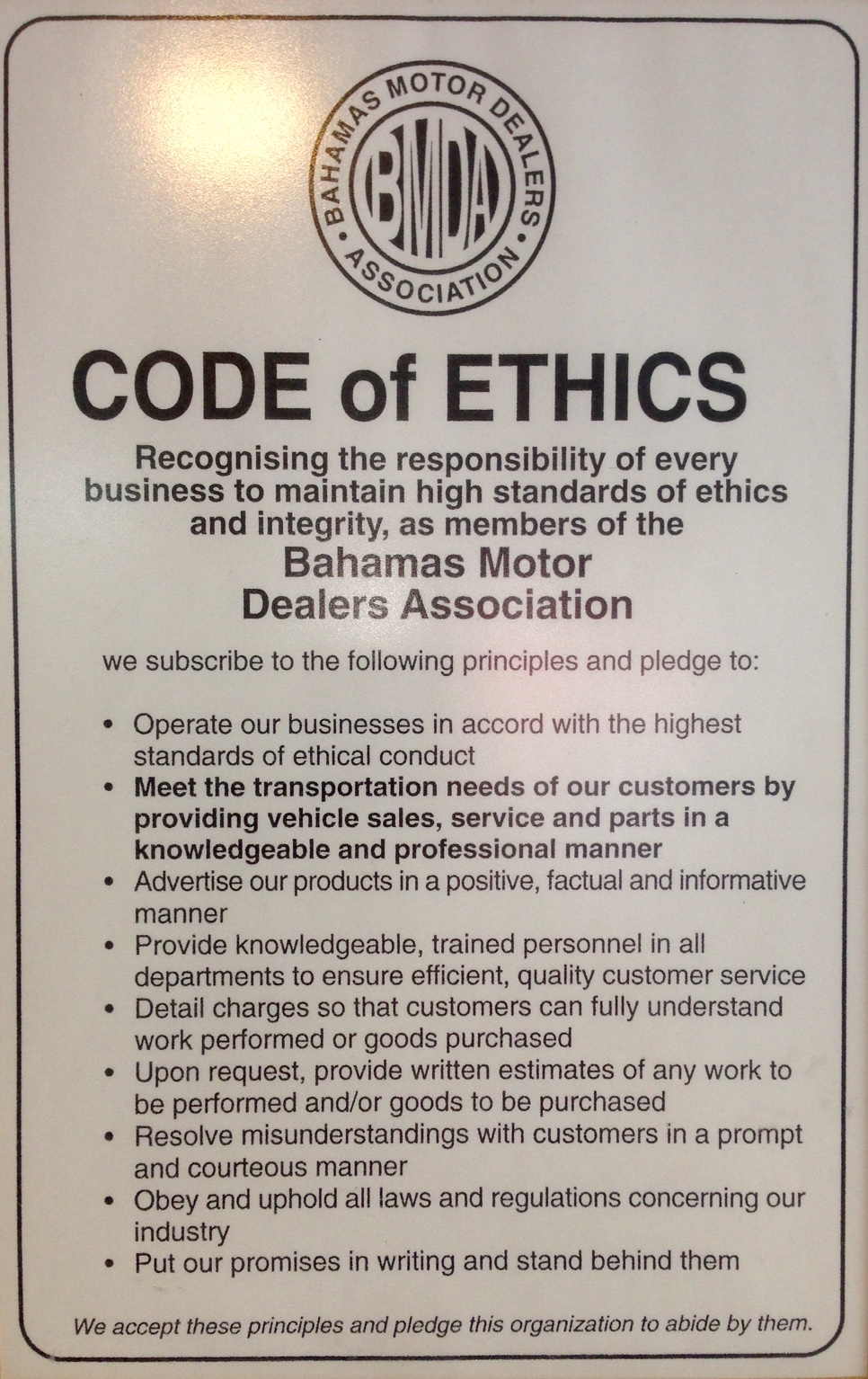 Our Code Of Ethics Nassau Motor Company