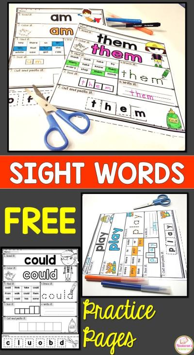 Free Sight Words Worksheets - Practice Pages > Nastaran's ...