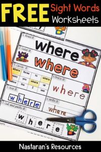 Free sight words practice page for kindergarten and first grade.#sightword#firstgrade#kindergarten#reading