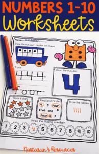 Numbers 1-10 Worksheets For Kindergarten