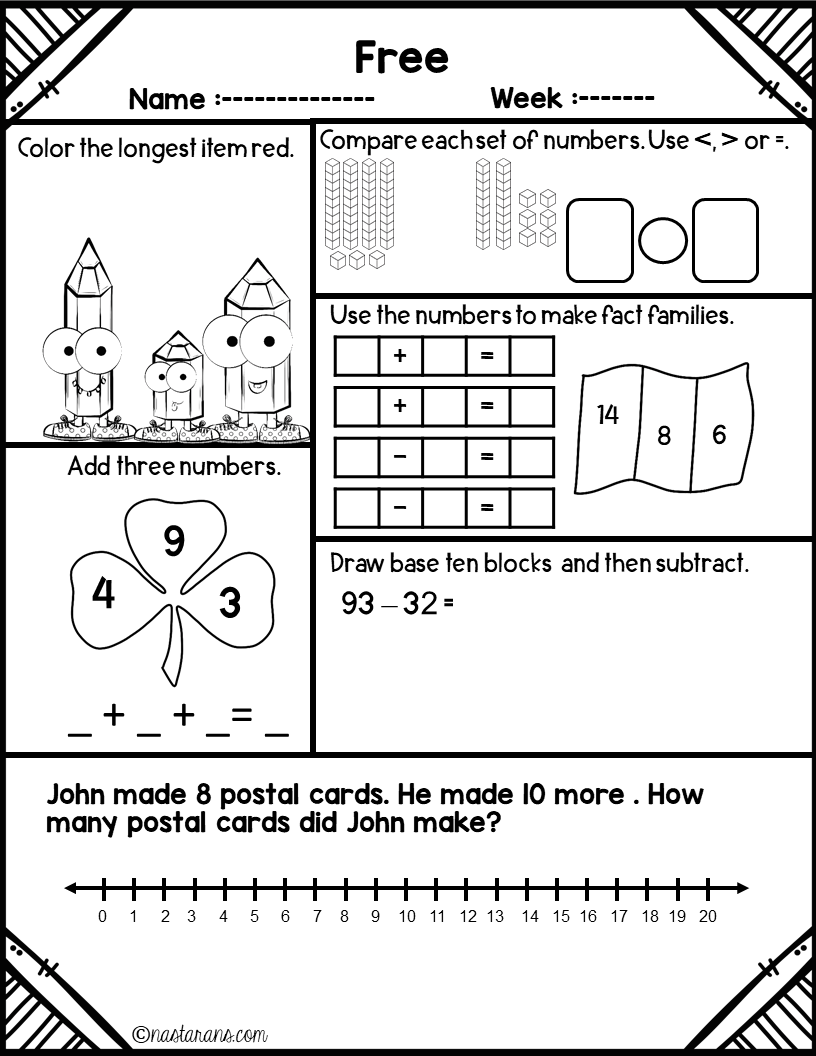 Daily Math Review Free- Spiral Review First Grade